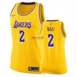 Divise Basket Personalizzate NBA Donna Los Angeles Lakers NO.2 Lonzo Ball Giallo Icon 2018/2019