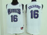 Divise Basket Personalizzate NBA Sacramento Kings NO.16 Peja Stojakovic Retro Bianco