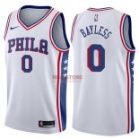 Divise Basket Personalizzate NBA Philadelphia Sixers NO.0 Jerryd Bayless Bianco Association 2017/2018