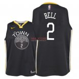 Divise Basket Personalizzate NBA Bambino Golden State Warriors NO.2 Jordan Bell Nero Statement 2018