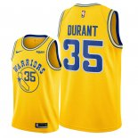 Divise Basket Personalizzate NBA Golden State Warriors NO.35 Kevin Durant Giallo Città 2018/2019