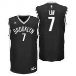 Divise Basket Personalizzate NBA Brooklyn Nets NO.7 Jeremy Lin Nero