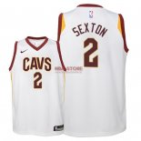 Divise Basket Personalizzate NBA Bambino Cleveland Cavaliers NO.2 Collin Sexton Bianco Association 2018