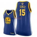 Divise Basket Personalizzate NBA Donna Golden State Warriors 2018 Finale Campioni NO.15 Damian Jones Blu Icon Patch