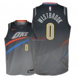 Divise Basket Personalizzate NBA Bambino Oklahoma City Thunder NO.0 Russell Westbrook Nike Grigio Città 2018