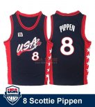 Divise Basket Personalizzate NBA 1996 NBA USA Scottie Pippen NO.8 Nero