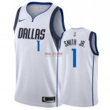 Divise Basket Personalizzate NBA Dallas Mavericks NO.1 Dennis Smith Jr Bianco Association 2018-19