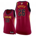 Divise Basket Personalizzate NBA Donna Cleveland Cavaliers 2018 Finale Campioni NO.26 Kyle Korver Rosso Icon Patch