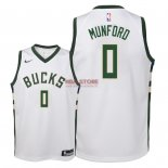 Divise Basket Personalizzate NBA Bambino Milwaukee Bucks NO.0 Xavier Munford Bianco Association 2018