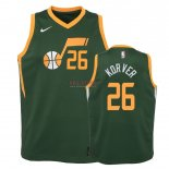Divise Basket Personalizzate NBA Bambino Earned Edition Utah Jazz NO.26 Kyle Korver Verde 2018-19
