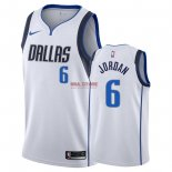 Divise Basket Personalizzate NBA Dallas Mavericks NO.6 DeAndre Jordan Bianco Association 2018