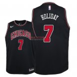 Divise Basket Personalizzate NBA Bambino Chicago Bulls NO.7 Justin Holiday Nero Statement 2018