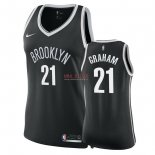 Divise Basket Personalizzate NBA Donna Brooklyn Nets NO.21 Treveon Graham Nero Icon 2018