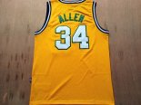 Divise Basket Personalizzate NBA Seattle Supersonics NO.34 Ray Allen Retro Giallo
