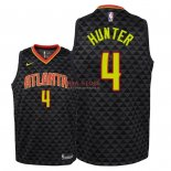 Divise Basket Personalizzate NBA Bambino Atlanta Hawks NO.4 R.J. Hunter Nero Icon 2018/2019