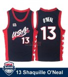 Divise Basket Personalizzate NBA 1996 NBA USA Shaquille O'neal NO.13 Nero