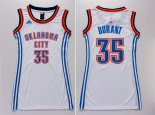 Divise Basket Personalizzate NBA Donna Oklahoma City Thunder NO.35 Kevin Durant Bianco