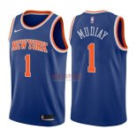 Divise Basket Personalizzate NBA New York Knicks NO.1 Emmanuel Mudiay Blu Icon 2017/2018