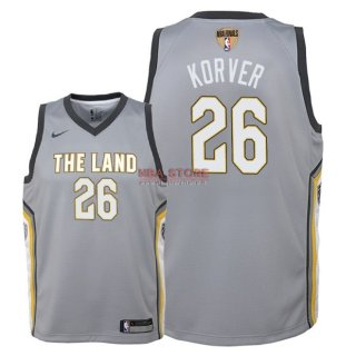 Divise Basket Personalizzate NBA Bambino Cleveland Cavaliers Finale Campioni 2018 NO.26 Kyle Korver Nike Grigio Città Patch