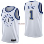 Divise Basket Personalizzate NBA Golden State Warriors NO.1 JaVale McGee Nike Retro Bianco 2017/2018