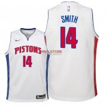 Divise Basket Personalizzate NBA Bambino Detroit Pistons NO.14 Ish Smith Bianco Association 2018