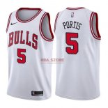 Divise Basket Personalizzate NBA Chicago Bulls NO.5 Bobby Portis Bianco Association 2017/2018