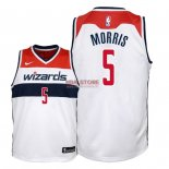 Divise Basket Personalizzate NBA Bambino Washington Wizards NO.5 Markieff Morris Bianco Association 2018