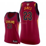 Divise Basket Personalizzate NBA Donna Cleveland Cavaliers 2018 Finale Campioni NO.23 LeBron James Rosso Icon Patch
