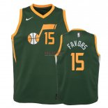 Divise Basket Personalizzate NBA Bambino Earned Edition Utah Jazz NO.15 Derrick Favors Verde 2018-19
