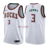 Divise Basket Personalizzate NBA Milwaukee Bucks NO.3 Jason Terry Retro Bianco 2017/2018