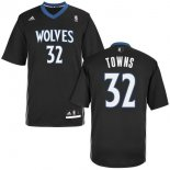 Divise Basket Personalizzate NBA Minnesota Timberwolves Manica Corta NO.32 Karl Anthony Towns Nero