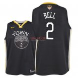 Divise Basket Personalizzate NBA Bambino Golden State Warriors Finale Campioni 2018 NO.2 Jordan Bell Nero Statement Patch
