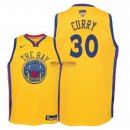 Divise Basket Personalizzate NBA Bambino Golden State Warriors Finale Campioni 2018 NO.30 Stephen Curry Nike Giallo Città Patch