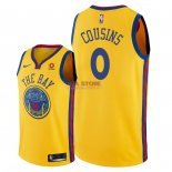 Divise Basket Personalizzate NBA Golden State Warriors NO.0 DeMarcus Cousins Giallo Città 2018