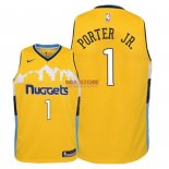 Divise Basket Personalizzate NBA Bambino Denver Nuggets NO.1 Michael Porter Jr Giallo Statement 2018