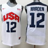 Divise Basket Personalizzate NBA 2012 USA James Harden NO.12 Bianco