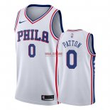 Divise Basket Personalizzate NBA Philadelphia Sixers NO.0 Justin Patton Bianco Association 2018