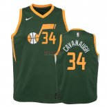 Divise Basket Personalizzate NBA Bambino Earned Edition Utah Jazz NO.34 Tyler Cavanaugh Verde 2018-19
