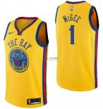 Divise Basket Personalizzate NBA Golden State Warriors NO.1 JaVale McGee Nike Giallo Città 2017/2018