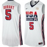 Divise Basket Personalizzate NBA 1992 USA Kevin Durant NO.5 Bianco