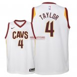 Divise Basket Personalizzate NBA Bambino Cleveland Cavaliers NO.4 Isaiah Taylor Bianco Association 2018