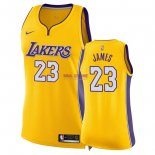 Divise Basket Personalizzate NBA Donna Los Angeles Lakers NO.23 LeBron James Giallo Icon 2018