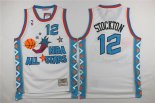 Divise Basket Personalizzate NBA 1996 All Star NO.12 John Stockton Bianco