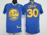 Divise Basket Personalizzate NBA Golden State Warriors Manica Corta NO.30 Stephen Curry Blu