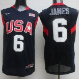 Divise Basket Personalizzate NBA 2008 USA James NO.6 Nero