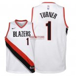 Divise Basket Personalizzate NBA Bambino Portland Trail Blazers NO.1 Evan Turner Bianco Association 2018