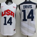 Divise Basket Personalizzate NBA 2012 USA Anthony Davis NO.14 Bianco