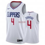 Divise Basket Personalizzate NBA L.A.Clippers NO.4 Milos Teodisic Bianco Association 2018
