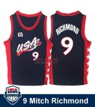 Divise Basket Personalizzate NBA 1996 NBA USA Mitch Richmond NO.9 Nero