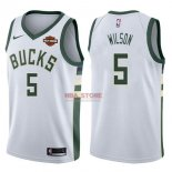 Divise Basket Personalizzate NBA Milwaukee Bucks NO.5 D.J. Wilson Bianco 2017/2018
